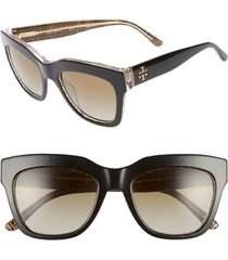 women's tory burch 53mm gradient square sunglasses - black/ brown gradient