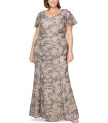 alex evenings plus size sequin lace gown