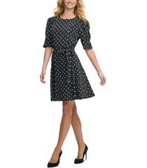 tommy hilfiger belted polka-dot dress