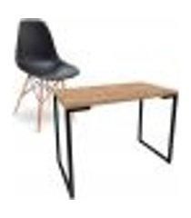 kit mesa para computador escrivaninha porto natura 90 cm e cadeira eiffel charles eames preto d'rossi