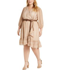 calvin klein plus size printed faux-wrap belted dress
