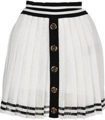 balmain white and black pleated skirt with balmain monogram