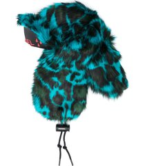 diesel faux-fur aviator trapper hat - blue