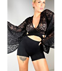 akira in the way lace long sleeve tie top