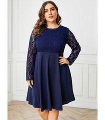 yoins plus tamaño malla de encaje azul marino redondo cuello mangas largas vestido