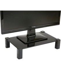 mind reader 4 leg black glass monitor stand riser for computer, laptop, desk