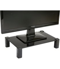 mind reader 4 leg black glass monitor stand riser for computer, laptop, desk