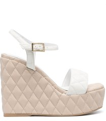 paul warmer diamond quilted wedge sandals - white