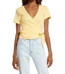 women's levi's terra mia wrap t-shirt, size x-large - yellow