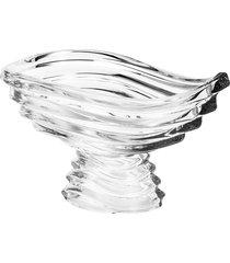 centro de mesa rojemac de cristal ecológico com pé wave 30x24x17cm incolor - tricae