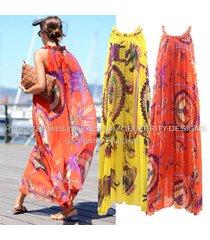 dm17 celebrity style bohemian indian print sleeveless halter chiffon maxi dress