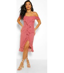 dobby cold shoulder ruffle midi tea dress, rose