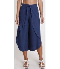 calça feminina pantacourt com transpasse e nó azul marinho