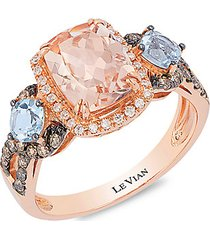le vian chocolatier® 14k strawberry gold®, peach morganite™, sea blue aquamarine®, chocolate diamond® & vanilla diamond® ring