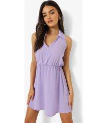 mouwloze blouse jurk met kraag, lilac