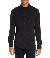 paige stockton slim fit long sleeve jersey sport shirt, size xx-large in black at nordstrom