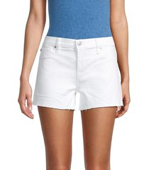 hudson women's gracie mid-rise denim shorts - white - size 28 (4-6)