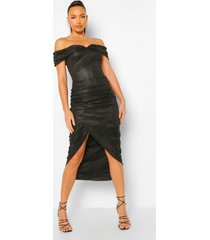 tall glimmende midaxi wikkel jurk met open schouder, black