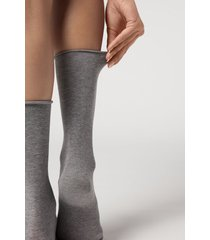 calzedonia women's smooth cotton mid-calf socks woman grey size tu