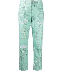 emilio pucci beach print cropped trousers - green