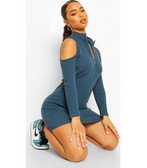 geribbelde mini jurk met hoge ritskraag en uitgesneden schouders, teal