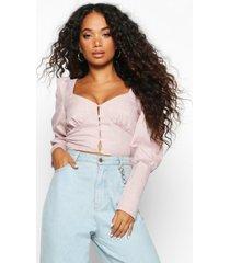 petite flannel button detail deep cuff blouse, blush