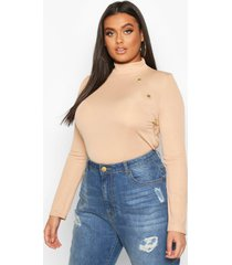 plus gold button rib high neck sweater, stone