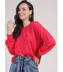 blusão de moletom feminino manga bufante decote redondo vermelho