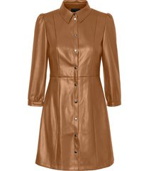 women's vero moda molly butter faux leather dress, size small - brown
