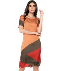 vestido manga corta casual estampado multicolor realist