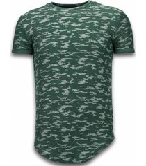 t-shirt korte mouw justing fashionable camouflage t-shirt - long fit -shirt army pattern -