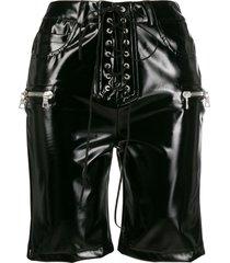 unravel project multi-pocket lace-up shorts - black