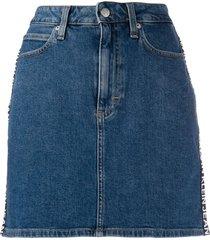calvin klein jeans logo denim skirt - blue