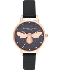 olivia burton women's lucky bee black vegan leather strap watch 30mm