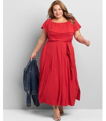 lane bryant women's convertible off-the-shoulder belted maxi dress 14/16 venetian red