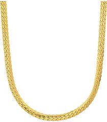 18k goldplated stainless steel curb cuban link flat necklace