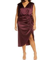 women's veronica beard casela sleeveless ruched stretch silk dress, size 18 - burgundy