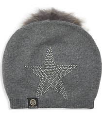 star embellished fox fur pom-pom beanie