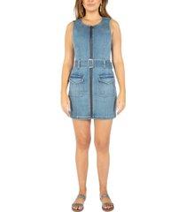 rewash juniors' zip-front denim mini dress