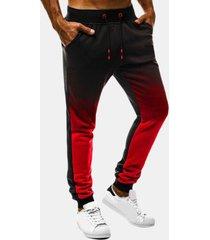 mens drawstring loose traspirante colore sfumato in cotone casual pantaloni