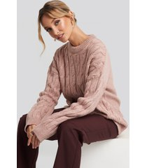 na-kd cable knitted oversized sweater - pink