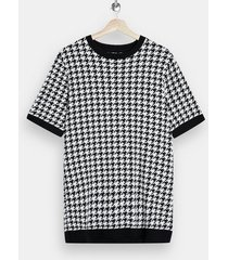 mens black and white houndstooth sweater