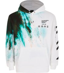 river island mens white long sleeve tie dye print hoodie