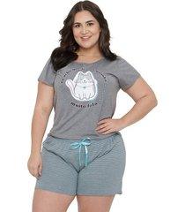 pijama short doll plus size família gato luna cuore