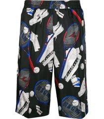 msgm tennis print sports shorts - black
