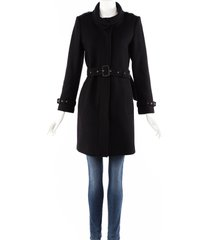 burberry black wool cashmere belted coat black sz: s