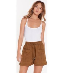 womens the ties the limit high-waisted shorts - khaki