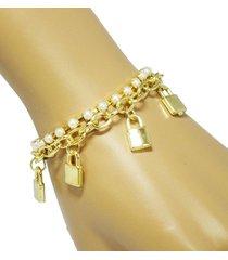 pulsera dorada blanca candados apu 11060