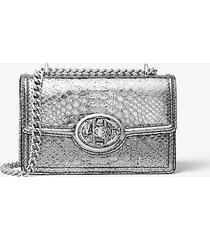mk borsa a spalla mini monogramme in pelle stampa pitone metallizzata con catena - argento (argento) - michael kors