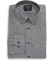 men's big & tall nordstrom men's shop trim fit non-iron gingham dress shirt, size 17 - 36/37 - black